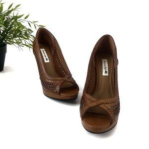 American Eagle Peep Toe Brown Braided Heels, 6.5